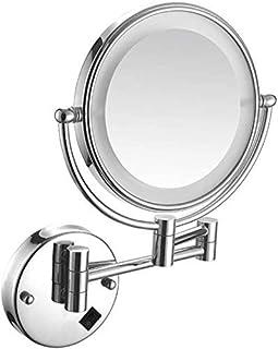 مرايا المكياج التجميلية القابلة للطي، بمصباح ليد وتكبير 1×/5 مرات، ذات شكل دائري مزدوج على الوجهين، 360 درجة