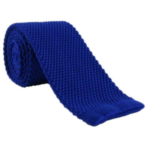 Une cravate étroite en soie tricotée bleue Michelsons