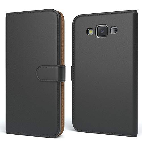 EAZY CASE Tasche für Samsung Galaxy A5 (2015) Schutzhülle mit Standfunktion Klapphülle im Bookstyle, Handytasche Handyhülle Flip Cover mit Magnetverschluss und Kartenfach, Kunstleder, Schwarz
