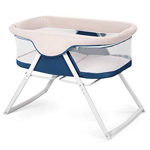 COSTWAY 2 IN 1 Stubenwagen klappbar, Reisebett mit Schaukelfunktion, Beistellbett bis 12kg belastbar, Babywiege inkl. Transporttasche und Matratze, geeignet für Baby von Geburt (blau)