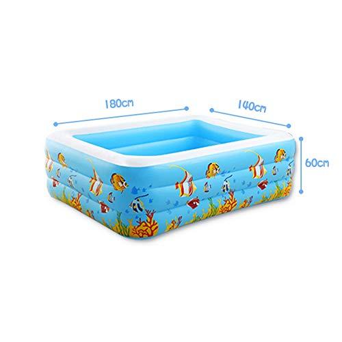 BEAGHTY Rechteckiger Familien-Swimmingpool Für Kinder Planschbecken Mit Pumpe Für Kinder, Erwachsene, Familien, Hinterhof, Innen & Außen, 180 * 140 * 60Cm