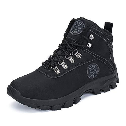 PAMRAY Bottes Homme Chaussures d'hiver Neige Bottines Chaudes Fur Imperméable Boots Tactique Militaire Sécurité Noir-C 44