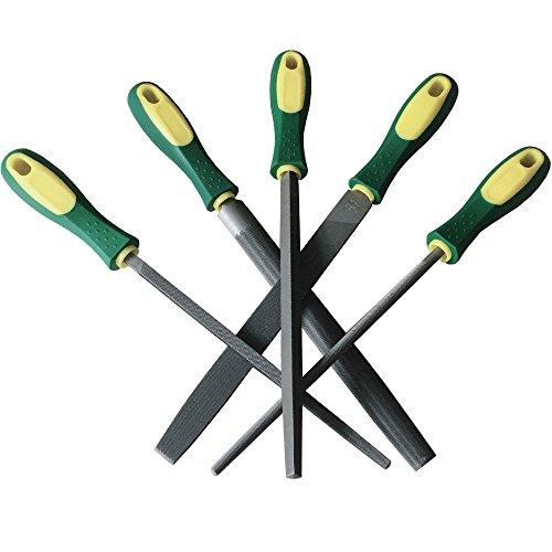 YCAMMIN Juego de limas de acero al carbono de grado premium de 8 pulgadas-manijas de goma/mejor para moldear madera,metal y herramientas de afilado(5 piezas)