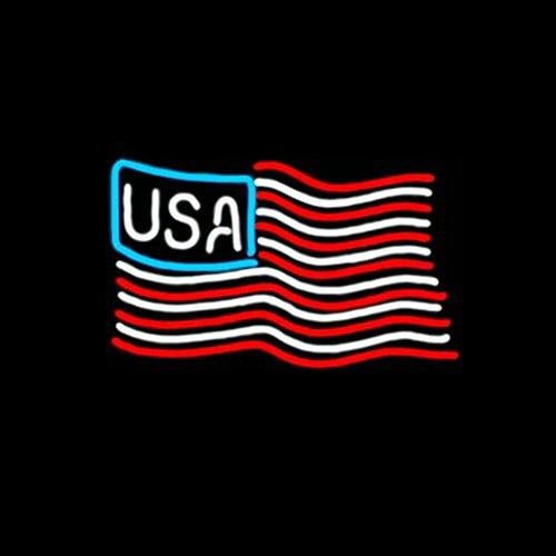 Panneau néon en verre véritable USA pour maison, bar, pub, salle de jeux, fenêtres, garage, panneau mural (43,2 x 35,6 cm)