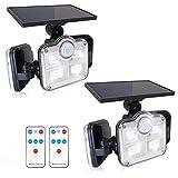 Fousômo Luces Solares para Exteriores 3 Cabezas 122 LEDs LED Lampara Aplique Pared Exterior Control Remoto Sensor de Movimiento IP65 Impermeable