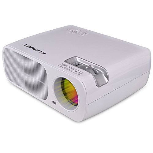 Movie Projector kuman The Portable Mini 1080P Projector 2600 Lumens 800x480 Resolution with HDMI Cable 2 HDMI 2 USB VGA TV/DTV YPBPR for Home Theater Cinema White H2