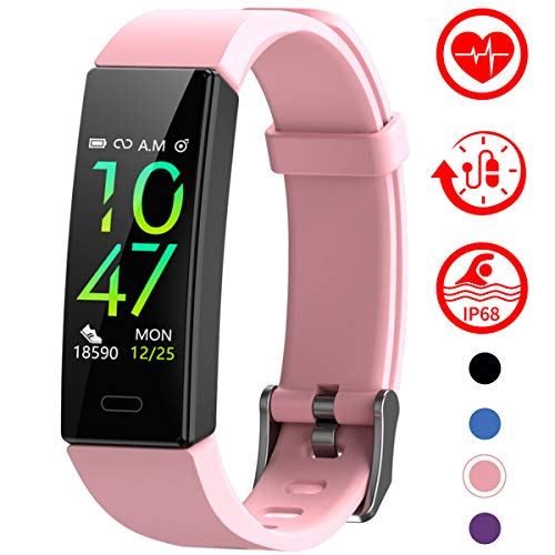 Mgaolo Fitness Tracker with Blood Pressure Heart Rate Sleep Monitor,10 Sport Modes IP68 Waterproof Activity Tracker Fit Smart Watch with Pedometer Calorie Step Counter for Women Men Kids (Pink)