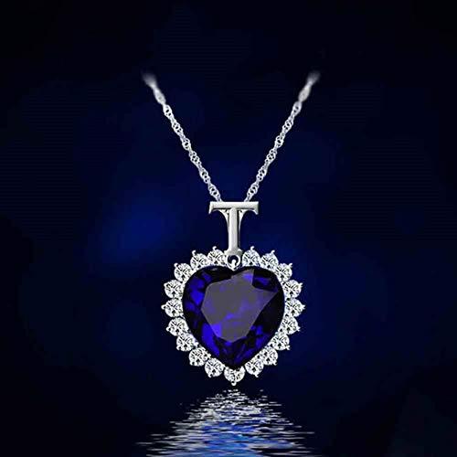 TLLAMG Collares Nueva Titanic Corazón del Océano Pedrería Collar De Cadena De Cristal Colgante Placa Joyería Mujer Regalo