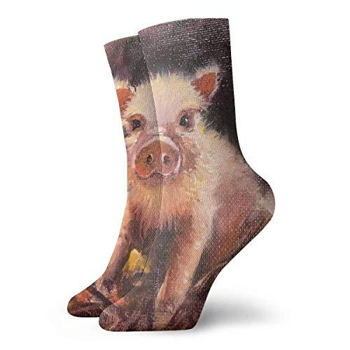 wonzhrui Unisex Novedad para Adultos Divertido Crazy Crew Sock Cute Pink Pig Pintura al óleo 3D Impreso Invierno Grueso Deporte Calcetines Deportivos Calcetines Personalizados de Regalo