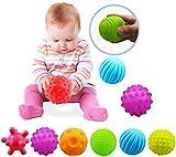Sensory Balls For Baby Massage Stress Relief, 6pcs Textured Multi Baby Balls Gift Sets Regenbogen Ball Bio Motorikspielzeug Gummiball aus ABA Kunststoff mit BPA-frei und ungiftig CE-zertifiziert