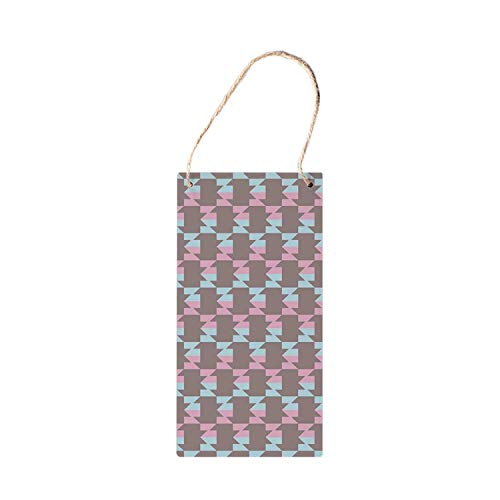 Lotusworld Geometric Functional Hanging Wooden Signs,Abstract Graphic Arrow Design Striped Patchwork Repeating Pattern for Tool Shed wood sign 5x10 inches