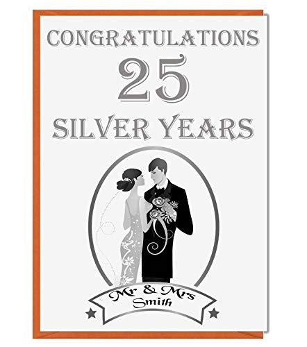 Gepersonaliseerde 25e zilveren trouwkaart - Gefeliciteerd Mr en Mrs 01