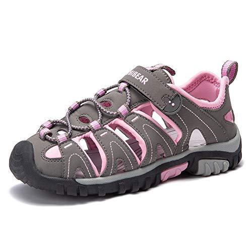 Gaatpot Unisex-Kinder Sandalen aus Leder für Jungen Mädchen Sommer Trekking Sandalette Sport- & Outdoor Strand Wanderschuhe Pink 24 EU