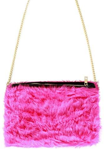 shoperama 80er 90er Jahre Kunstfell Party Handtasche Tasche Schultertasche Karneval, Farbe:Pink