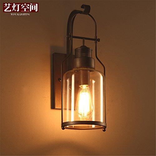 DengWu wandlamp American landhuisstijl industriële stijl hoogslaper tweepersoonsbed retro ijzer antiek kunstglas wandlampen