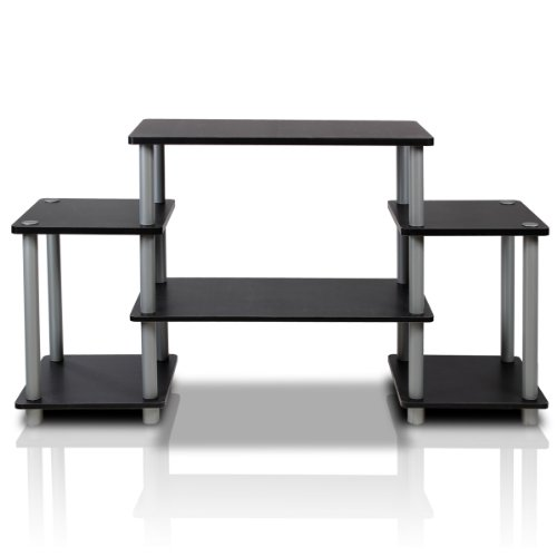 Furinno Turn-N-Tube No Tools Entertainment TV Stands, Black/Grey
