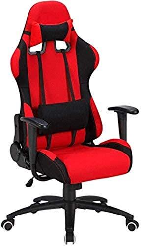 Computer Stuhl Gaming Chair Bürostuhl Schlafzimmer Ergonomische Schwenker hoher Rückenlehne mit verstellbarer Rückenschreibtischstuhl Sessel (Color : Red)