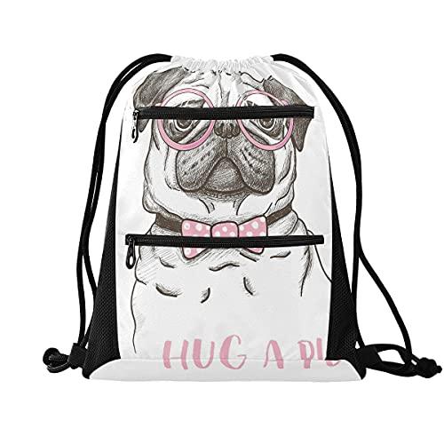 Mochila con cordón para gimnasio, ligera, mochila para escuela, viajes, compras, deporte, Pug 6, Large