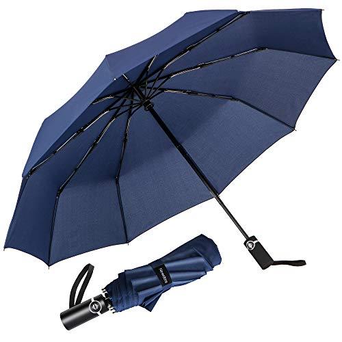 Newdora Regenschirm Taschenschirm Windproof sturmfest Auf-Zu Automatik 210T Nylon Umbrella wasserabweisend klein leicht kompakt 10 Ribs Reise Golfschirm mit Trockenbeutel(Dunkelblau)
