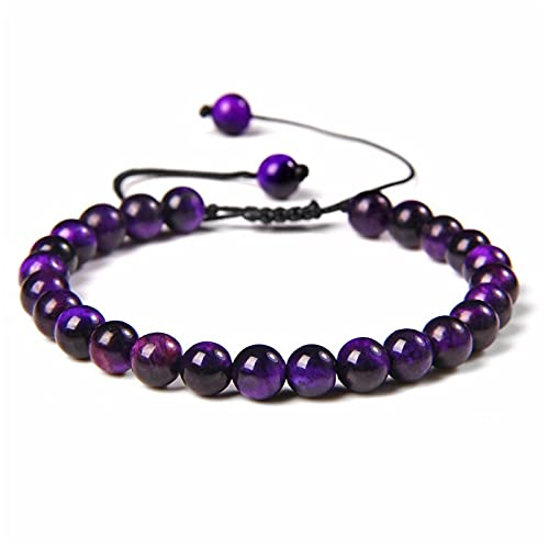 Lilac Bracelets Women Handmade Black Rope Adjustable Jewelry 6 MM Purple Mineral Stone Beads Bangle Prayer Mala Balance Yoga