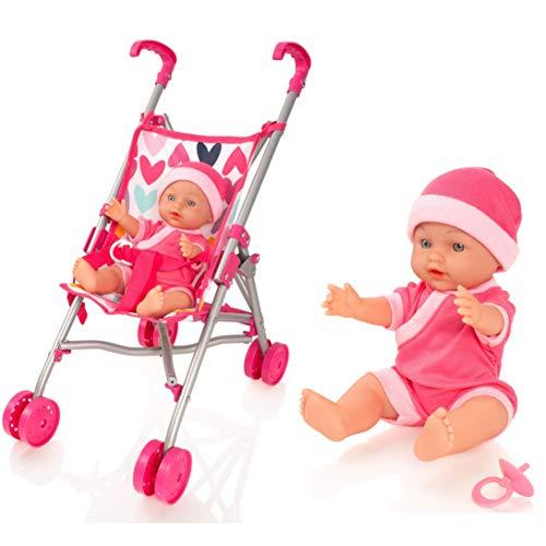 Molly Dolly My First Dolls Pram & Doll Set - Girls Toy Stroller - Baby Doll Pushchair
