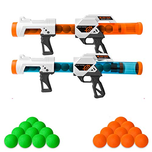 Zac-T 2 PCS Power Popper Gun Foam Ball Air Powered Shooter Toy Guns Foam Ball Air Powered Shooter Toy Guns for Kids Role Playing Toy for Indoor and Outdoor. 2-Player Toy Guns with 20 Foam Balls
