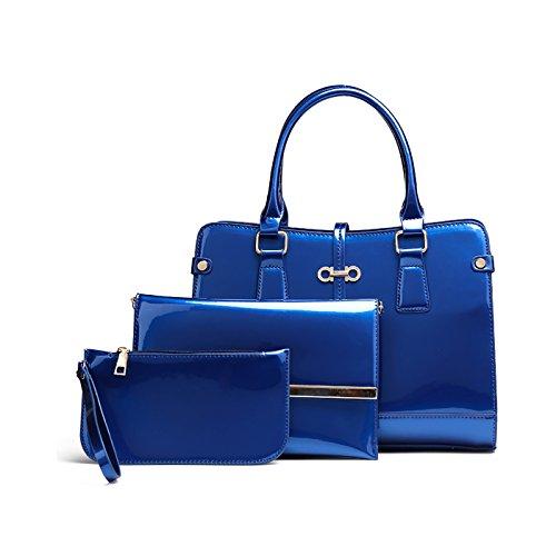 Tisdaini Donna Borse a mano moda 3 pezzi vernice Borse a spalla Borse a tracolla Borse Tote Pochette e Clutch Blu
