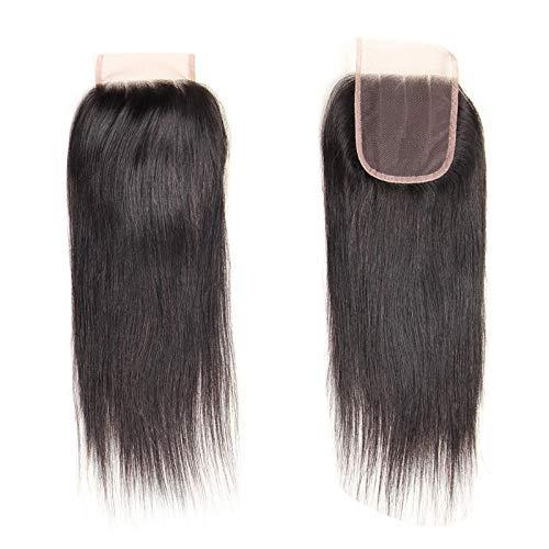 feichang Hair & Accessories Mono-Perücke für Damen, handgefertigt, 100 % Haar-Topper, Haarteil, Toupet, Top Piece (Farbe: Schwarz, Größe: 30,5 cm)