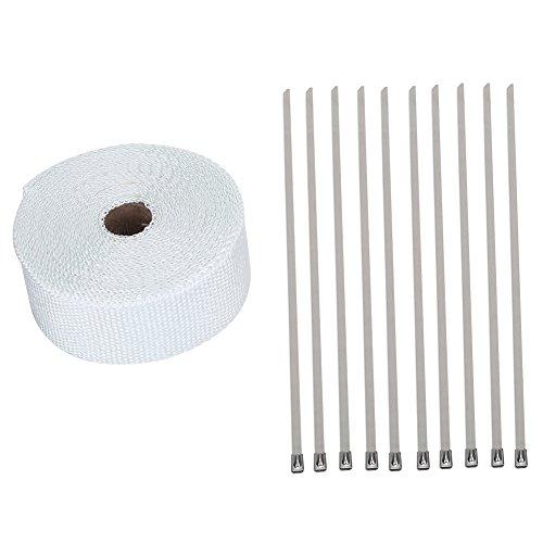 Qiilu 33FT White High Heat Isolierung Auspuff Pipe Wrap Tape Tuch für Auto Motorrad