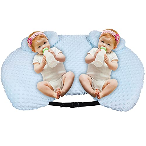 Baby Nursing & Lounge Pillow, Versatile Pregnancy Pillow for Infants, Tummy Time! Playing & Reflux, Bottlefeeding and Breastfeeding Pillows! Suitable for Both Single and Twin Baby, Blue Cover