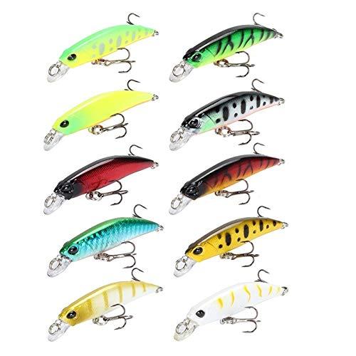 KKAAMYND 10 unids Minnow Fishing Lure 6.5cm 4g Crankbait Wobblers Iscas Artificiais Duro Cebo Flotante Pesca Artificial Aparejos (Color : Multi)
