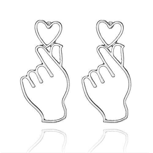 Taosheng Pendientes de amor, joyería para mujer, pendientes simples y simples en forma de corazón, sorpresa para fiesta de niña (color metal: plata ES4008)
