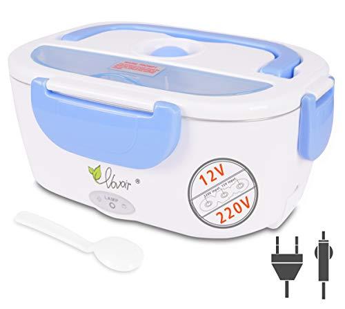 VOVOIR Box di Riscaldamento Elettrico per Auto 12V / 220v 2 in1 Box di Riscaldamento Elettrico Domestico per Alimenti Scaldavivande per conservazione di Calore, Ufficio, Scuola, Viaggio (Blu)