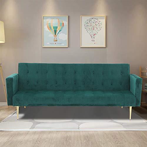 YORKING Velvet Sofa Bed Green With Rose Golden Legs Elegant Sofa bed for Living Room