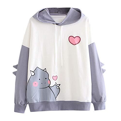 YSLMNOR Cute Sweatshirt for Teen Girls Dinosaur Printed Hoodies Long Sleeve Splice Pullover Tops