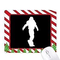 スポーツ・スケートボーディングの黒いシルエット ゴムクリスマスキャンディマウスパッド