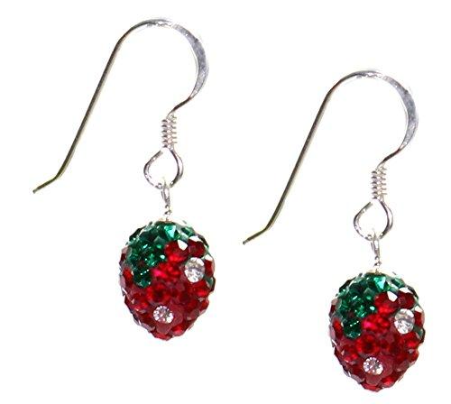 Erdbeer Ohrringe Ohrhänger Erdbeere 925er Silber, Erdbeerohrringe Erdbeeren Strawberry