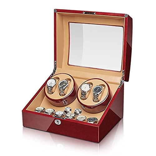 Caja enrolladora de Reloj automática para 4 Relojes con 6 almacenamientos adicionales Vitrina de Reloj con silencioso Motor japonés Mabuchi Carcasa de Madera Pintura de Piano Exterior 4 Modos de