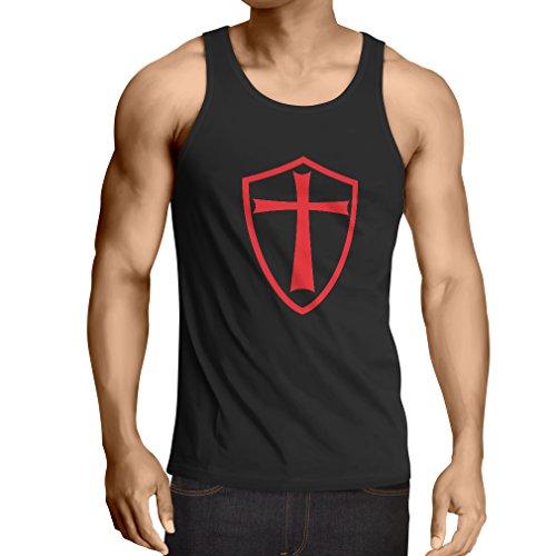 lepni.me Camisetas de Tirantes para Hombre Caballeros Templarios - Escudo de los Templarios (Small Negro Rojo)