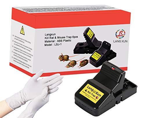 Langxun mata las trampas de la rata y mata las trampas del ratón (paquete 6) | Más sensible, más potente y más eficiente para matar a la rata