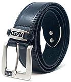 Ossi Cintura in jeans cinturino in pelle verniciata a 38mm nero (110cm- 120cm vita)