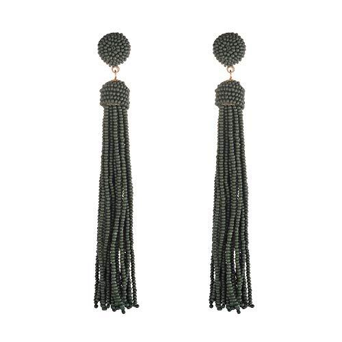 Nicole Miller New York Long Green Tassel Beaded Drop Dangle Stud Earrings