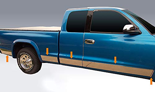 """Made in USA! Compatible with 1998-2004 Dodge Dakota 2 Door Extended Cab Short Bed Rocker Panel Trim Body Side Moulding 5.5"""" Wide 10PC"""