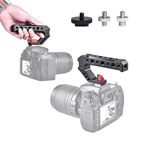 UTEBIT Handle Griff Kameragriff Aluminum Top Handle mit 1/4 '' und 3/8 '' Gewinde Adapter Blitzschuh für die Installation externer Monitore, Mikrofone,DSLR Kamera