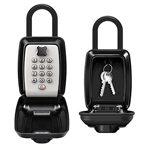 ENONEO Schlüsseltresor mit Bügel Ultra-Robustes Schluesselsafe mit Zahlencode Aussen 12 Stellige Rücksetzbarer Code Schlüsselbox Wetterfest Große Kapazität Schlüsselkasten für Aussen Innen Büro Auto