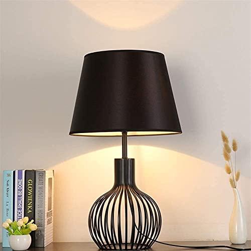 LATOO Lámpara de escritorio negra simple tela artesanal lámpara de mesa moderna personalidad sala de estar dormitorio dormitorio noche estudio luz decoraciones 25 * 25 * 60 cm