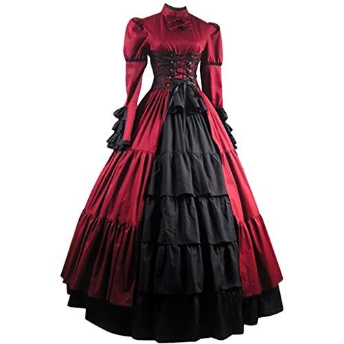 SALUCIA Damen Mittelalter Gothic Kostüm Elegant Retro Kleider Gewand Viktorianisches Renaissance Prinzessin Barock Rokoko Kleidung SA223