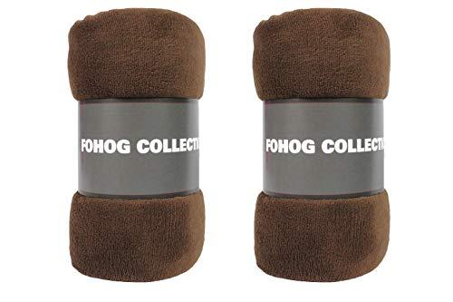 "FOHOG Collection Flannel Fleece Silky Soft Throw Shaggy Blanket Lightweight Comfy and Cozy Plush Microfiber Travel Silk 50"" X 60"" (127 cm X 152 cm) (Brown, 2)"