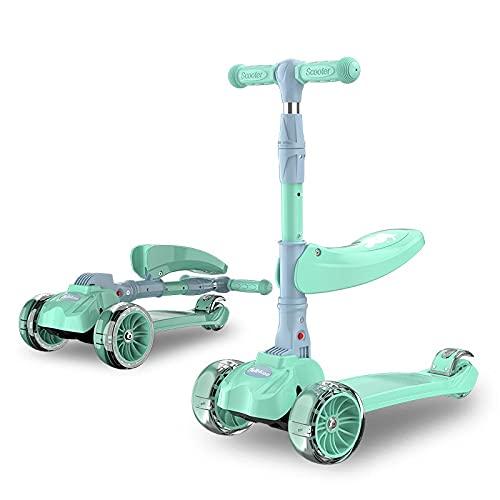GLNuoke Scooter para niños Scooter ligero plegable triciclo scooter de altura ajustable 3 en 1 con asiento (color verde-con asiento)