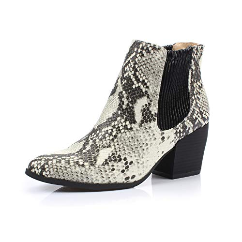 DUNION Women's Bliss Fashion Dress Comfortable Chunky Heel Casual Daily Ankle Chelsea Bootie,BLACK/WHITE SNAKE,7.5 B(M) US